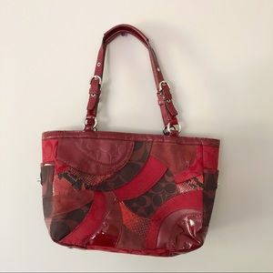 Coach Handbag Snakeskin Print Red Tote Medium Size